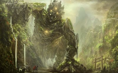 Knight facing a forest creature wallpaper