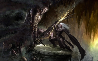 Knight in battle with an elf wallpaper