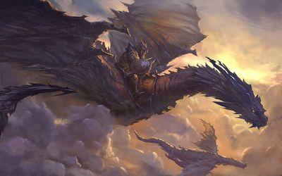 Knight on dragon wallpaper