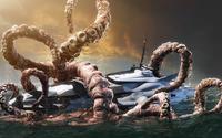 Kraken fighting with a yacht wallpaper 1920x1080 jpg