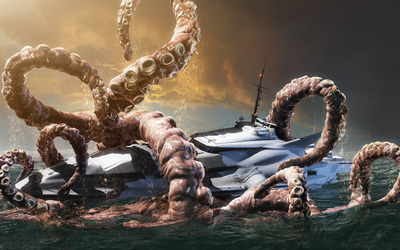 Kraken fighting with a yacht wallpaper