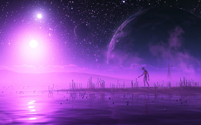 Life on purple planet wallpaper
