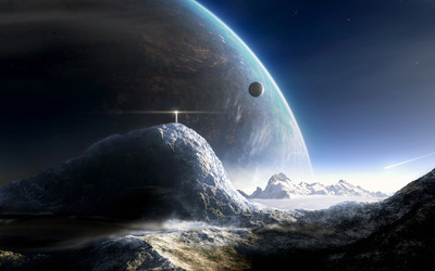 Lifgthouse on a distant planet wallpaper