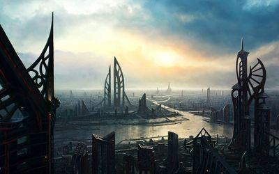 Light in the Sci-Fi city wallpaper