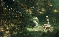 Little girl and dragon wallpaper 2560x1600 jpg