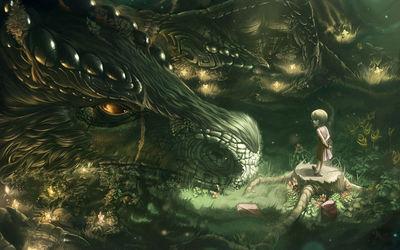 Little girl and dragon wallpaper