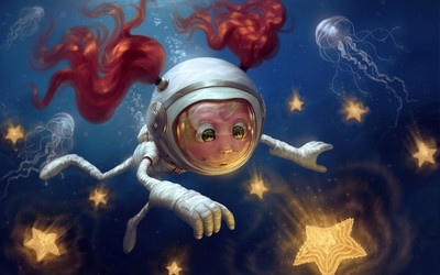 Little redhead diver chasing the stars wallpaper