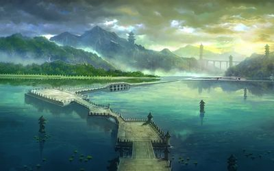 Long bridge on the sea wallpaper