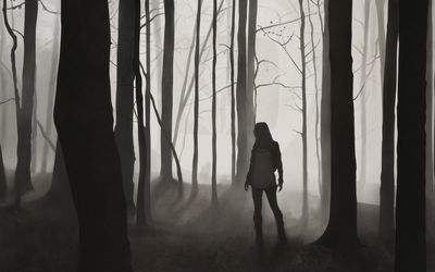 Lost girl in the dark forest wallpaper