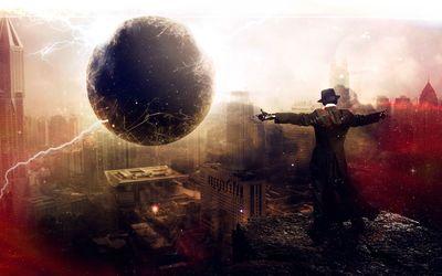 Man controling the black hole wallpaper
