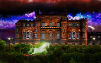 Mansion under the colorful sky wallpaper 1920x1200 jpg