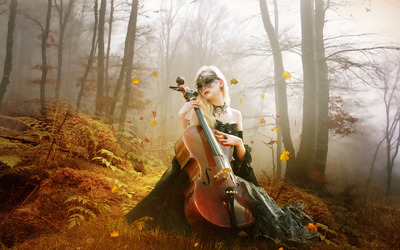 Masked woman playing the cello wallpaper