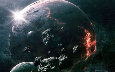 Meteorite circling the imploding planet wallpaper