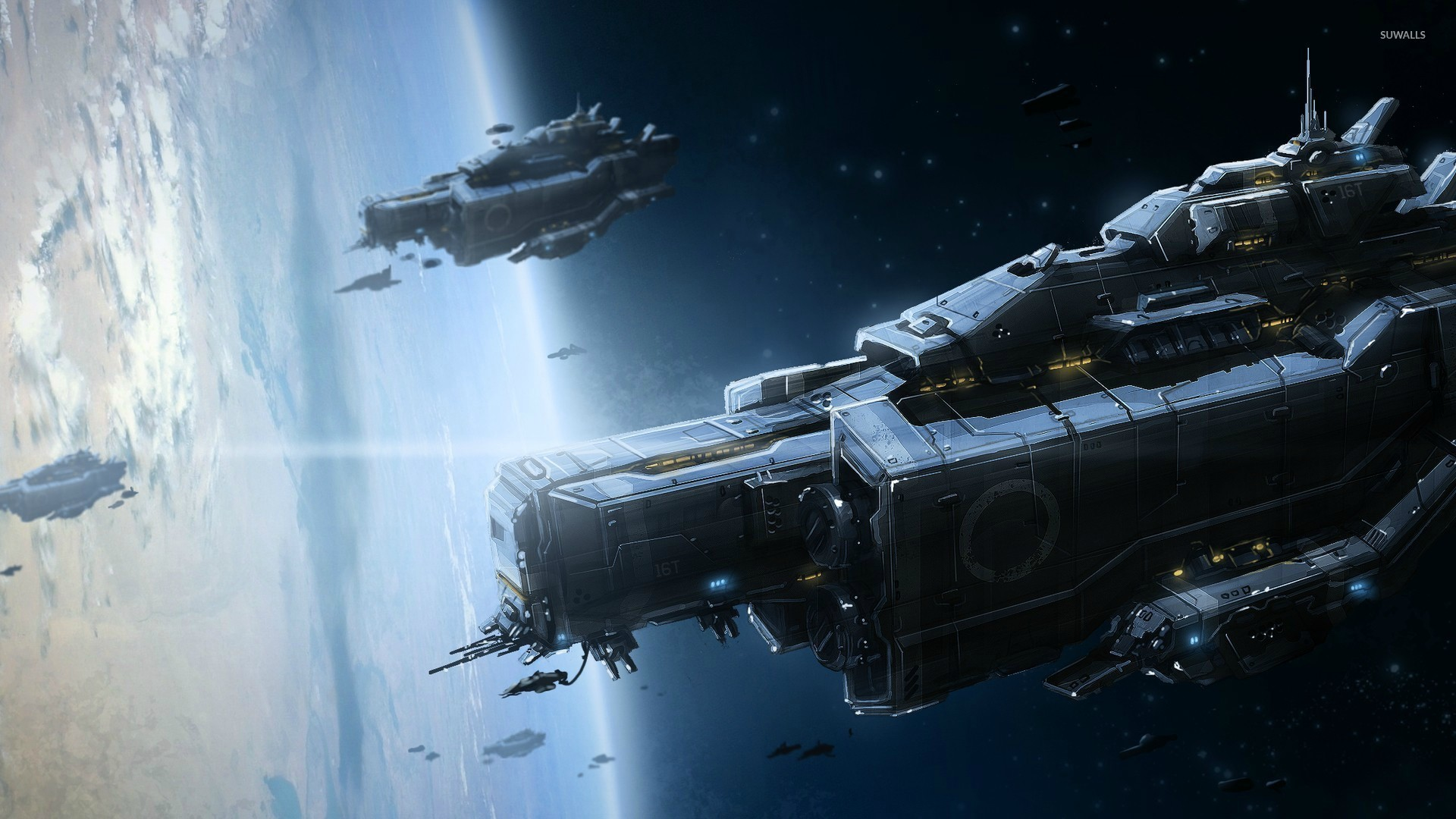 Military Spaceships Orbiting The Planet Wallpaper Fantasy
