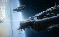 Military spaceships orbiting the planet wallpaper 1920x1080 jpg