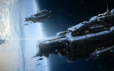 Military spaceships orbiting the planet wallpaper