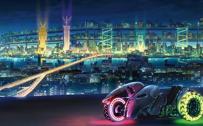 Modern bike in futuristic city wallpaper