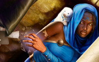 Monk and her pet weasel wallpaper 1920x1080 jpg