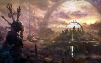 Monster in a floating city wallpaper 1920x1200 jpg