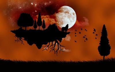 Moonlit floating island wallpaper