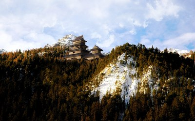 Mountain Forest Temple wallpaper
