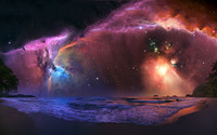 Nebula over the beach wallpaper 1920x1200 jpg