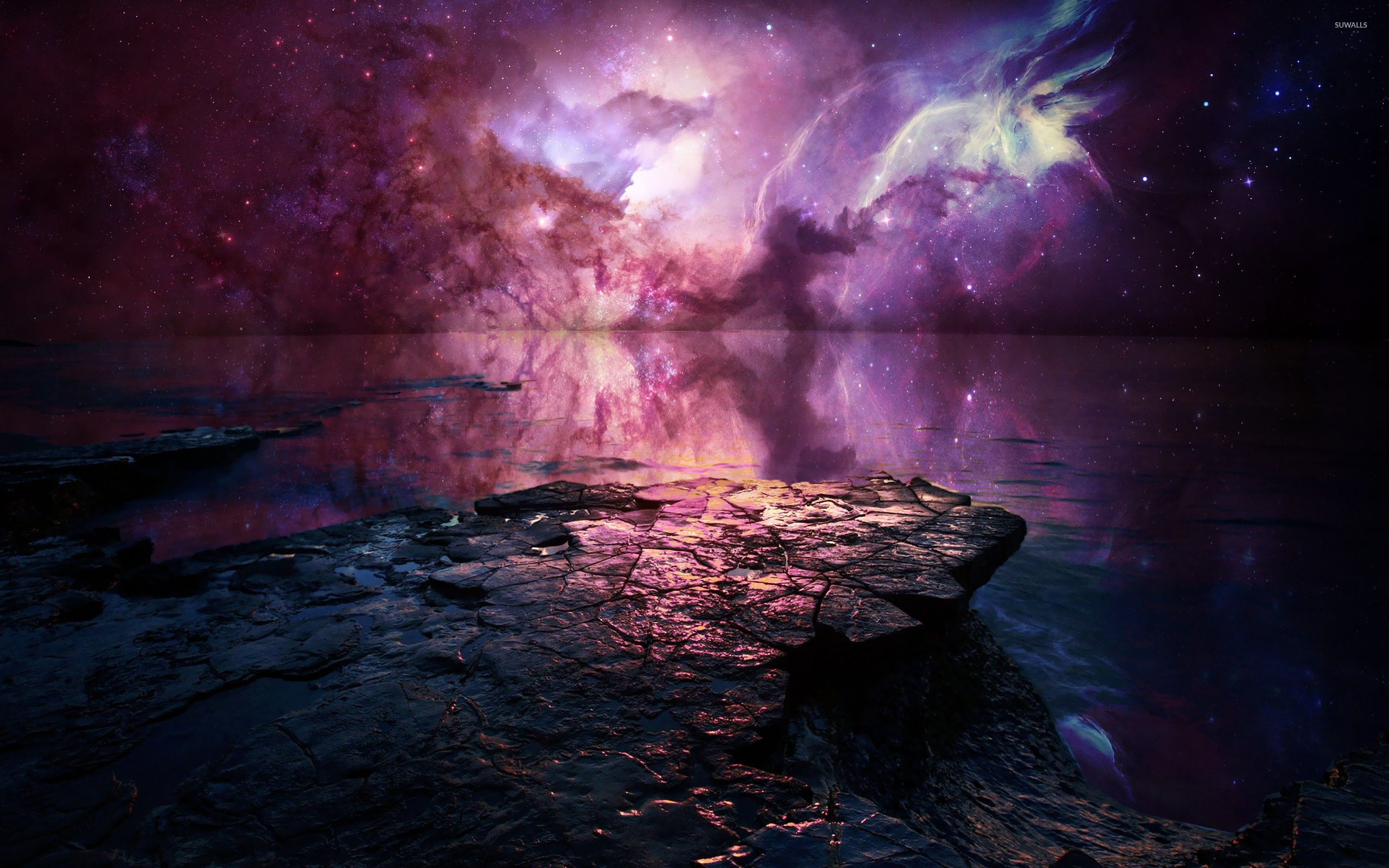 Nebula Reflected In The Lake Wallpaper