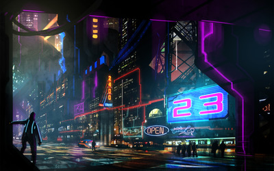 Neon signs in the night wallpaper