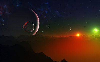 Night sky on strange planet wallpaper