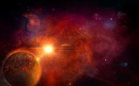 Orange nebula near a golden planet wallpaper 1920x1080 jpg