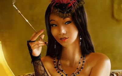 Oriental woman smoking wallpaper