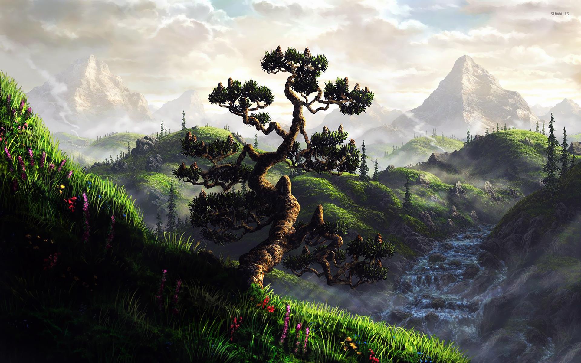 Painted Mountain Landscape wallpaper