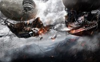 Pirate blimps in battle wallpaper 2560x1440 jpg