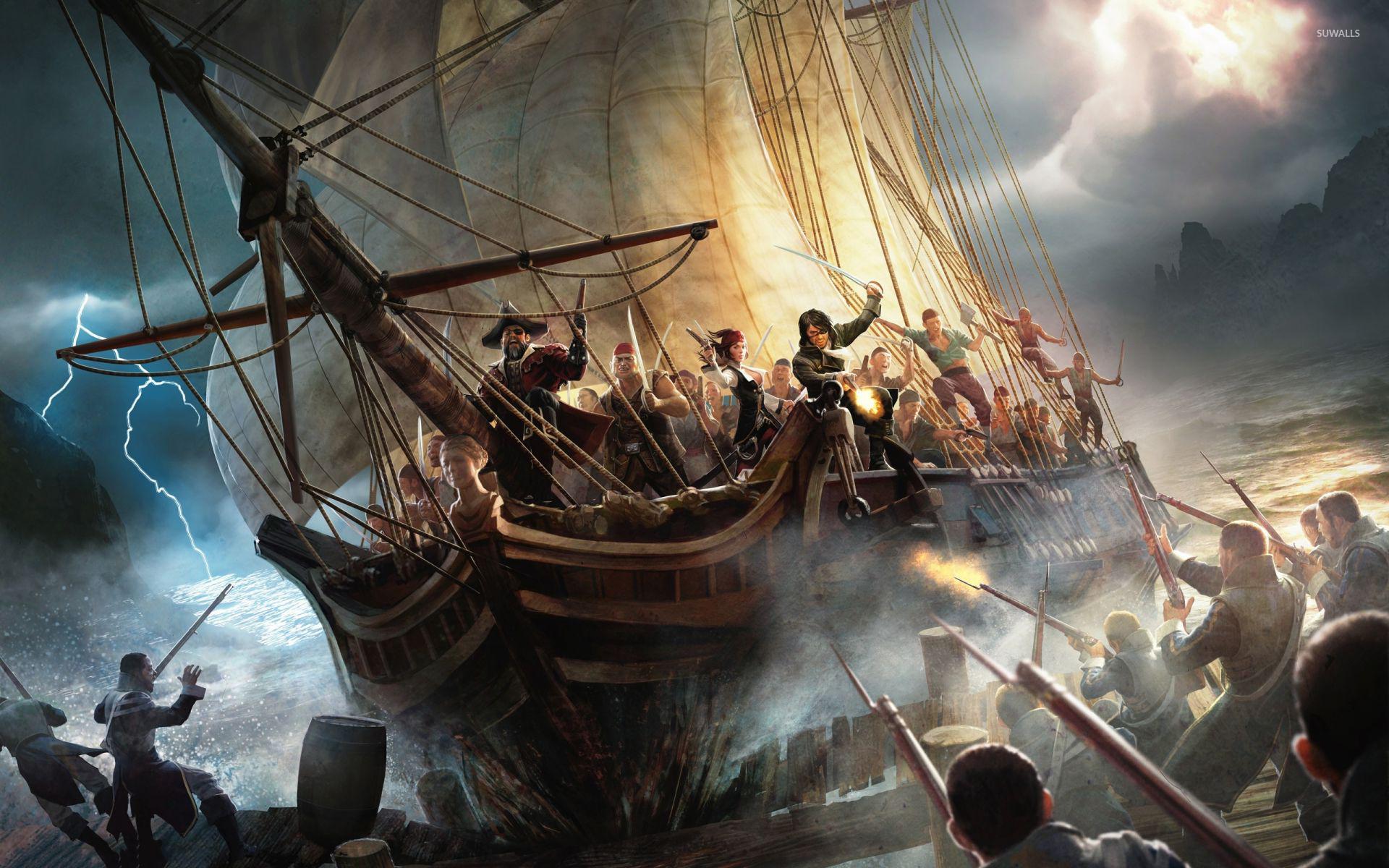 Pirate ship closing to the shore wallpaper - Fantasy