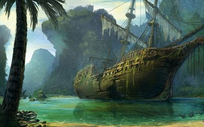 Pirate ship wreck wallpaper