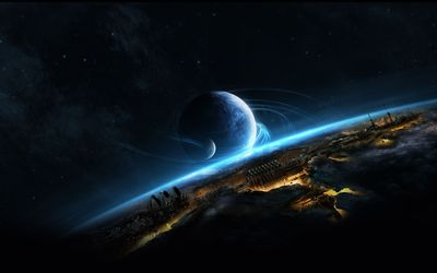 Planet above the futuristic world wallpaper