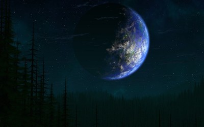 Planet and trees wallpaper