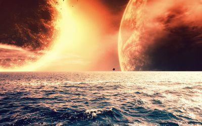 Planet floating above the sea Wallpaper