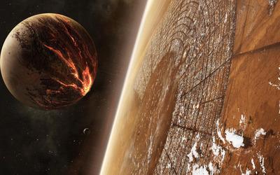 Planet heading toward the city wallpaper