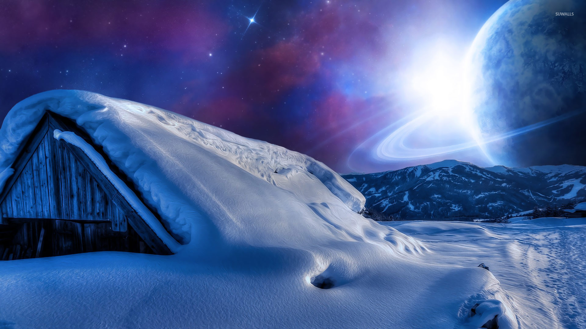Planet In The Sky During A Winter Night Wallpaper Fantasy