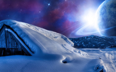 Planet in the sky during a winter night wallpaper