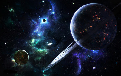 Planets and galaxies wallpaper