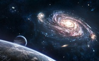 Planets and galaxy wallpaper 1920x1200 jpg
