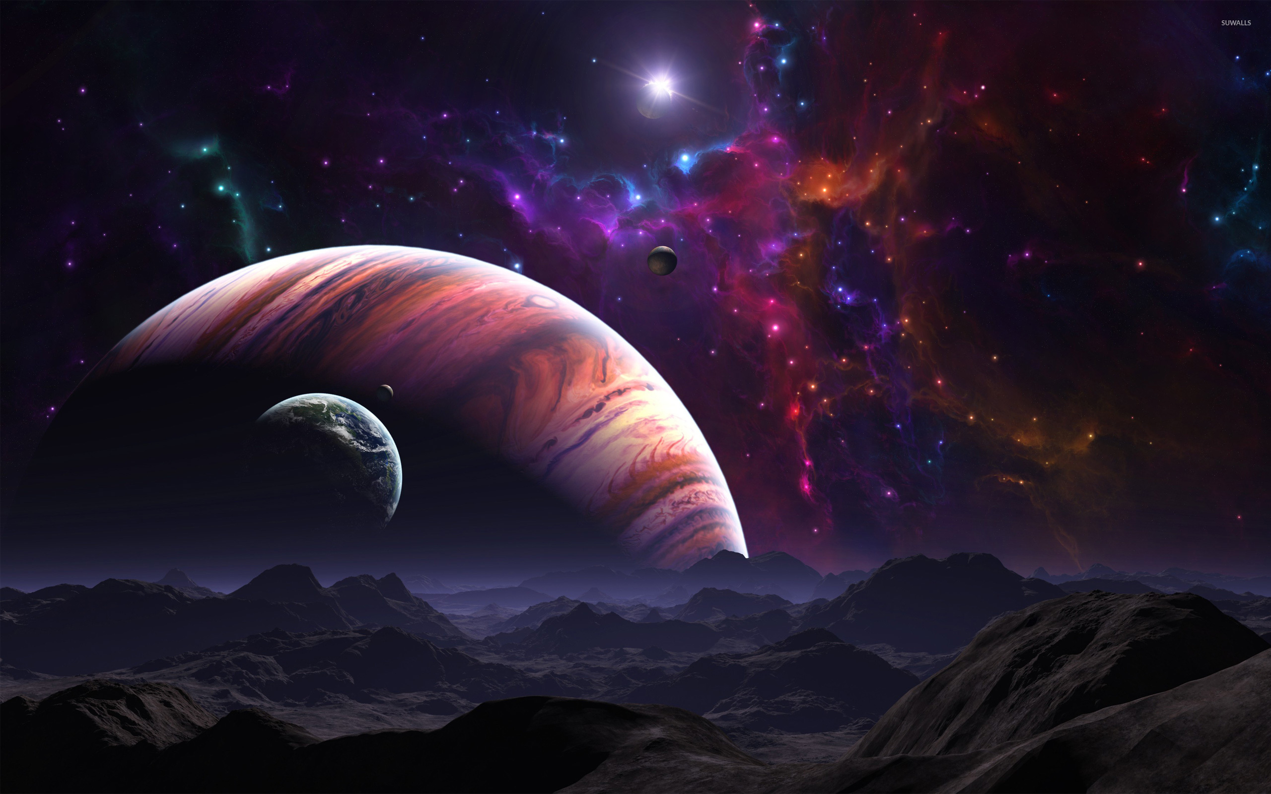 planets and moons wallpaper fantasy wallpapers 6856