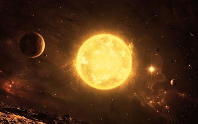 Planets around the sun wallpaper