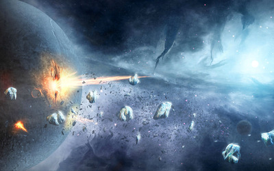Planets getting hit by asteroids wallpaper