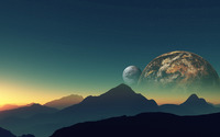 Planets hiding behind the mountains wallpaper 2560x1600 jpg