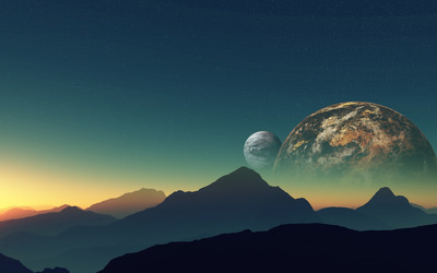 Planets hiding behind the mountains wallpaper