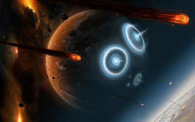 Planets hit by asteroids wallpaper