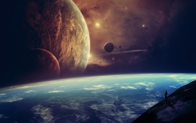 Planets in the horizon of a blue planet wallpaper